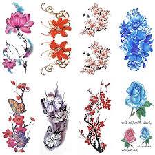 cokohappy 8 sheets temporary tattoo rose peony flower phoenix 3d