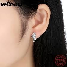 feather stud earrings hot sale 925 sterling silver majestic feathers stud earrings for