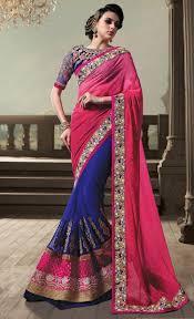 Reception Sarees For Indian Weddings Pink U0026 Blue Traditional Indian Bengali Half Half Sari