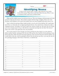 identifying nouns nouns worksheet worksheets and common core