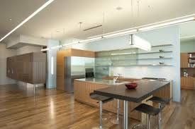 interior design minimalist kitchen with neon ceiling track
