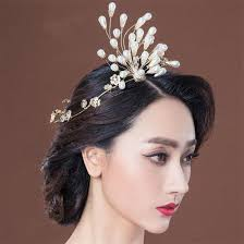pearl headpiece designer wedding bridal gold pearl crown tiara hair accessories