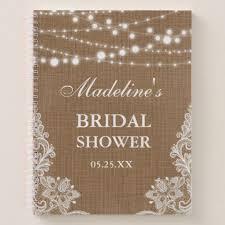 bridal shower gifts registry rustic bridal shower burlap lace lights gift list notebook