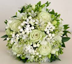 White Rose Bouquet White And Green Wedding Bouquets Two Colours Green White Rose