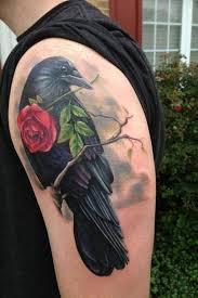 3d raven bird hold red rose tattoo design u2013 truetattoos