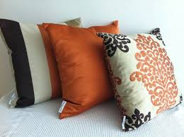 Orange Sofa Throw Set Of 3 Damask Orange Dark Brown And Otter Designer Fabric