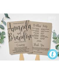 kraft paper wedding programs new savings on wedding program fan template calligraphy script