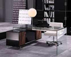 Modern Office Furniture Contemporary Office Desk With Thick Acrylic Cabinet Support Legs