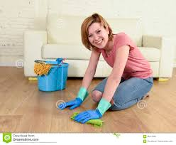 Cleaning House Happy Housewife Woman With Beautiful Smile Cleaning House Washing