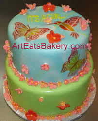 two tier blue and green fondant custom baby shower cake with pink and salmon sugar flowers 2c butterflies and hummingbird jpg