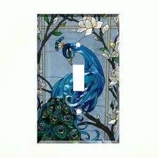 blue peacock light switch cover plate wall cover peacock decor ebay