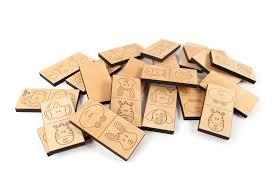 domino animal dominoes wooden game set smiling tree
