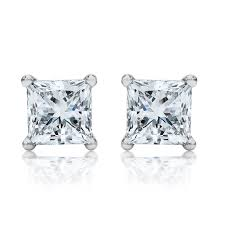 diamond earrings uk 2 00ctw princess cut diamond platinum stud earrings earrings