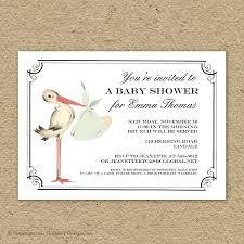 vintage stork baby shower invitation baby stork shower
