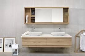 simple solid wood bathroom wall cabinet featuring white laminated