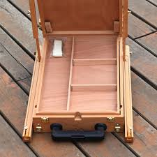 portable sketch box floor rolling w wheels artist wood easel