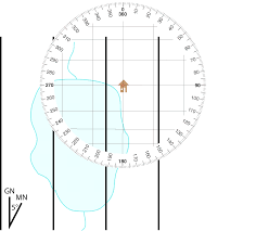 How To Read A Topographic Map Plotting A Bearing On A Map Using A Protractor