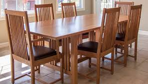 7 pieces cherry mission style dining room set with long dining