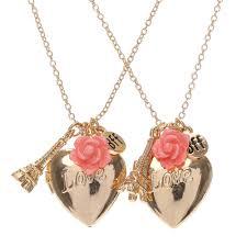 gold best friends necklace images Gold love heart and paris best friend necklace set claire 39 s jpg