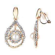 madeline s fancy goldtone imitation pearl tear drop clip on earrings