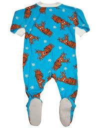 s prints baby boys sleeve footed reindeer pajama blue
