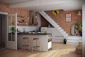 Below Stairs Design Kitchen Amazing Natural Brick Wall Decor With White Kitchen