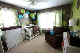 green curtains design and boy crib room with green wall and