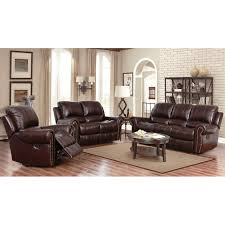 Leather Reclining Sofa Sets Abbyson Broadway Top Grain Leather Reclining 3 Living Room