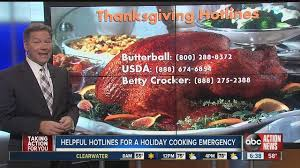 2016 thanksgiving cooking and baking hotline phone numbers