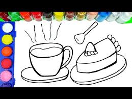 drawing cake and coffee cup painting coffee time coloring pages