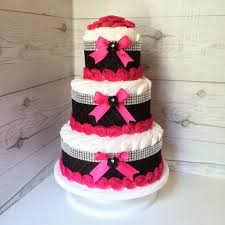 Diaper Cake Centerpieces by Pink And Black Diaper Cake Baby Shower Centerpiece Chic