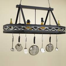 Hanging Bakers Rack Pretty Kitchen Pot Rack With Lights Come With Rectangle Shape