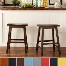 24 Bar Stool With Back Salvador Saddle Back 24 Inch Counter Height Backless Stool Set Of