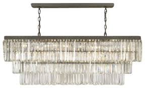 Large Glass Chandeliers Retro Odeon Glass Fringe Rectangular Chandelier Traditional
