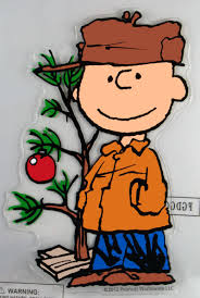 brown christmas tree large snoopy peanuts window cling