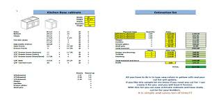 estimate sheet basic job estimate form kitchen cabinets cut list