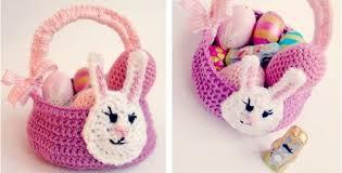 bunny basket crocheted easter bunny basket free crochet pattern