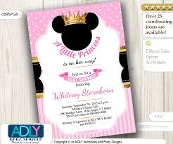 princess minnie mouse invitation baby shower black pink