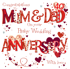 what is 40th wedding anniversary ruby 40th wedding anniversary greeting card cards