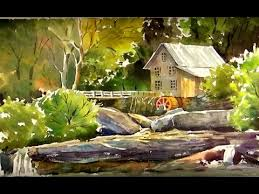 watercolor painting old mill wallpaper youtube