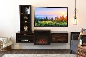 floating wall mount tv stand with fireplace and bookcase eco geo