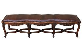 french nailhead trim leather bench omero home
