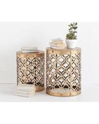 gold metal side table deals on mercana rudebekia gold metal nesting side tables set of 2