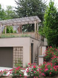 roof terrace design garage eclectic with yellow flowers shaped