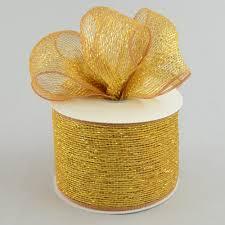 metallic gold ribbon 4 poly deco mesh ribbon metallic gold brown rs200563