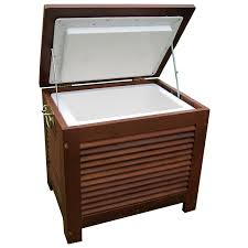 Outdoor Wooden Patio Furniture Furniture Solid Wood Patio Cooler Cart With Drawer For Outdoor