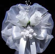 wedding bows wedding pew bow with silk roses on sale