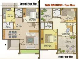 interior simple one floor plans tiny house twin bungalow plan