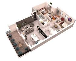 2 Story Apartment Floor Plans 2 Story 3d Floor Plan Gallery With Bedroom Apartmenthouse Picture