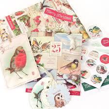 christmas gift wrap sets cavallini christmas birds parcel set pipii